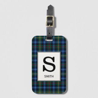 Het Geruite Schotse wollen stof van Smith van de Bagagelabel