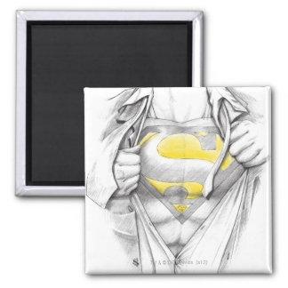 Het geschetste Logo van de Superman van de Borst Vierkante Magneet