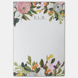 Het geschilderde BloemenMonogram van de Bloei Post-it® Notes