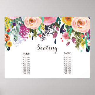 Het geschilderde BloemenPoster van de Grafiek van Poster