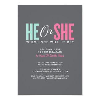 Het geslacht openbaart | de Grijze Partij 12,7x17,8 Uitnodiging Kaart
