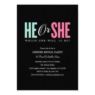 Het geslacht openbaart - de Zwarte Partij van | 12,7x17,8 Uitnodiging Kaart