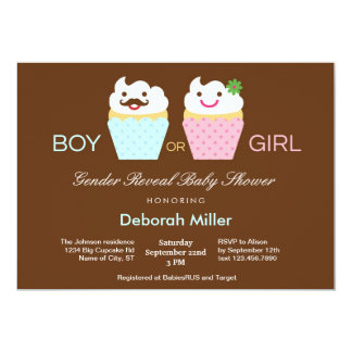 Het Geslacht van Cupcakes openbaart Baby shower Kaart