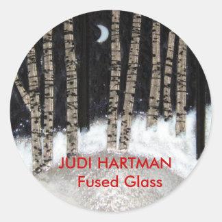 Het Gesmolten Glas van de winter Nacht Ronde Sticker