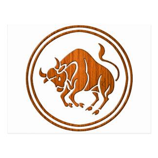 Het gesneden Houten Symbool van de Dierenriem van Briefkaart