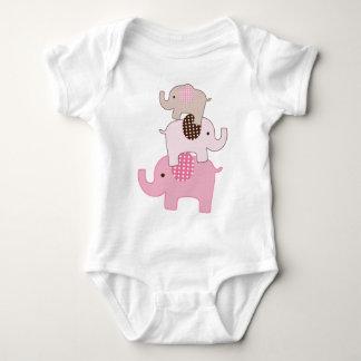 Het gestapelde Roze Kinder Overhemd van Olifanten Romper