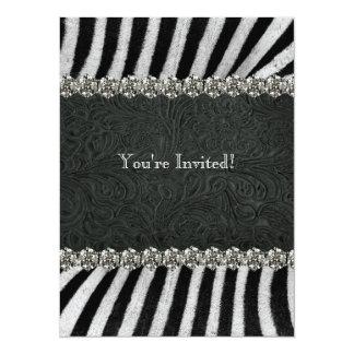 Het gestreepte Zwarte Vrijgezellenfeest van het 13,9x19,1 Uitnodiging Kaart