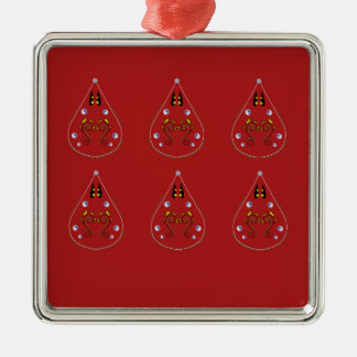 Het getrokken Rood van Paisleys hand. Origineel Zilverkleurig Vierkant Ornament