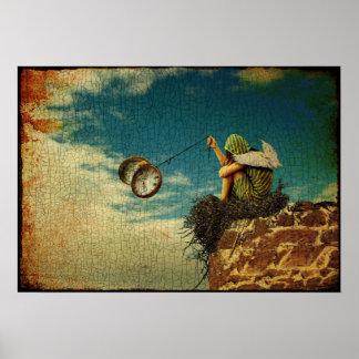 Het gevleugelde kind spelen met zakhorloge poster