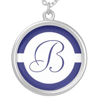 Het gewaagde Blauwe Monogram van de Cirkel Zilver Vergulden Ketting