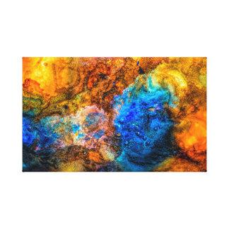 Het geweven blauwe en gele abstracte schilderen canvas print