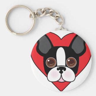 Het Gezicht van Boston Terrier Basic Ronde Button Sleutelhanger
