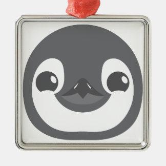 het gezicht van de babypinguïn zilverkleurig vierkant ornament