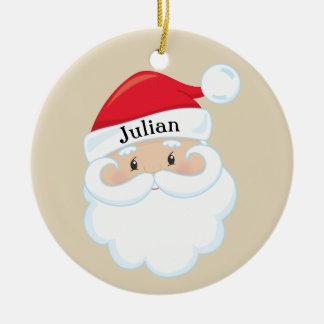 Het Gezicht van de kerstman met Naam bij het Pet Rond Keramisch Ornament