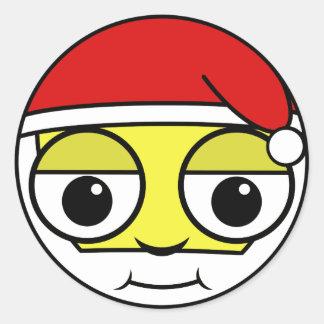 Het Gezicht van de Kerstman Ronde Sticker