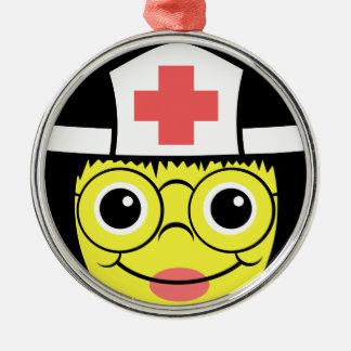 Het Gezicht van de verpleegster Zilverkleurig Rond Ornament