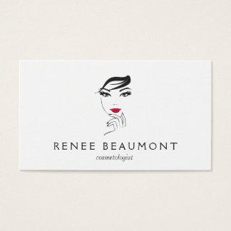 Het Gezicht van de vrouw met het Rode Elegante Wit Visitekaartjes