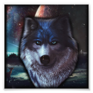 Het gezicht van de wolf in het ruimte, Blauwe wolf Foto Prints