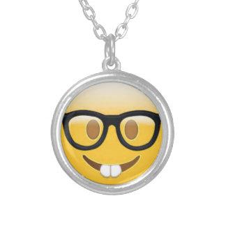 Het Gezicht van Emoji Smiley van Geeky Zilver Vergulden Ketting