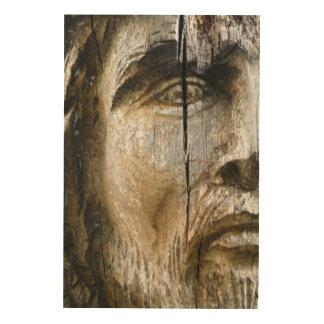 Het Gezicht van Jesus Carved op Hout Afdruk Op Hout