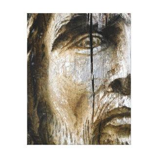 Het Gezicht van Jesus Carved op Hout Canvas Afdrukken