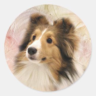 Het gezicht van Sheltie van de sabelmarter Ronde Sticker