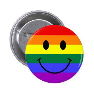 Het Gezicht van Smiley van de regenboog Ronde Button 5,7 Cm