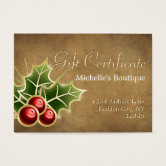 Het glanzende Certificaat van de Gift van Kerstmis Visitekaartjes