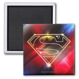 Het glanzende Gele Logo van de Superman van het Ov Vierkante Magneet