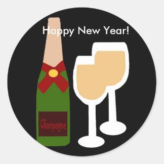 Het glas van Champagne n, Gelukkig Nieuwjaar! Ronde Sticker