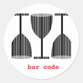 Het Glas van de Wijn van de Streepjescode Ronde Sticker