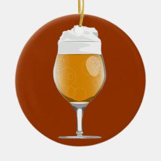 Het glasornament van het bier rond keramisch ornament