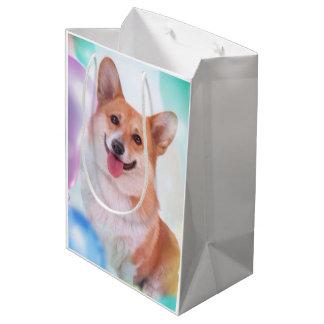 Het glimlachen Corgi met Ballons Medium Cadeauzakje