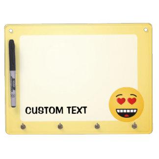 Het glimlachen Gezicht met hart-Gevormde Ogen Whiteboard Met Sleutelhanger