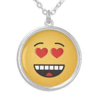Het glimlachen Gezicht met hart-Gevormde Ogen Zilver Vergulden Ketting
