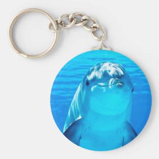 Het glimlachen Leven van het Zee van de Dolfijn Basic Ronde Button Sleutelhanger