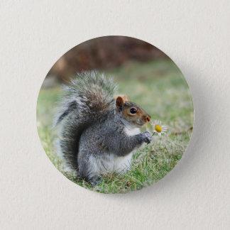 het glimlachen van eekhoorn met madeliefje ronde button 5,7 cm