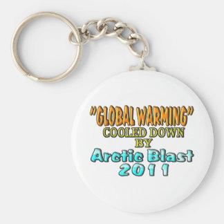 """""""Het globale Verwarmen"""" Bedaard door NoordpoolOntp Basic Ronde Button Sleutelhanger"""