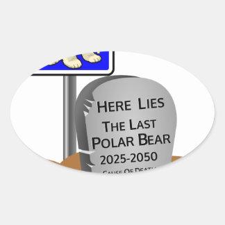 Het globale Verwarmen, de Ijsbeer 2050 van RIP Ovale Sticker