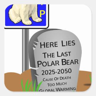 Het globale Verwarmen, de Ijsbeer 2050 van RIP Vierkante Sticker