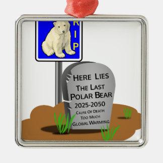 Het globale Verwarmen, de Ijsbeer 2050 van RIP Zilverkleurig Vierkant Ornament