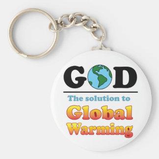 Het Globale Verwarmen van de god Basic Ronde Button Sleutelhanger