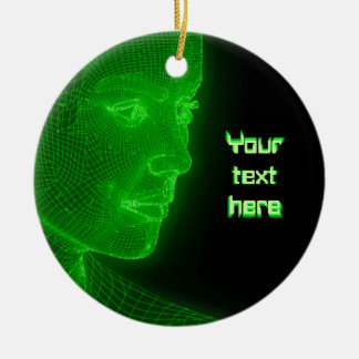 Het gloeien Cyberspace Cyberwoman - klantgerichte Rond Keramisch Ornament