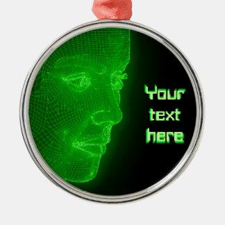 Het gloeien Cyberspace Cyberwoman - klantgerichte Zilverkleurig Rond Ornament