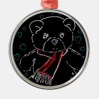 Het gloeien de Liefde van de Teddybeer van de Rand Zilverkleurig Rond Ornament