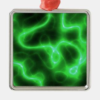 Het gloeien Groene Abstracte Elektriciteit Zilverkleurig Vierkant Ornament