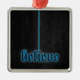 Het gloeien het Blauw gelooft Zilverkleurig Vierkant Ornament