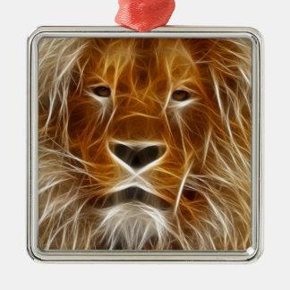 Het gloeien het Portret van de Leeuw Zilverkleurig Vierkant Ornament