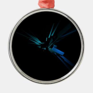 Het gloeien Meetkunde van Blauw en Groen Zilverkleurig Rond Ornament