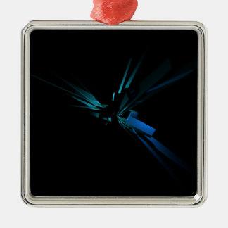 Het gloeien Meetkunde van Blauw en Groen Zilverkleurig Vierkant Ornament